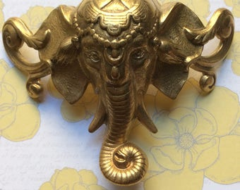 2oz./Thick/Vintage/ French/ Art Nouveau Elephant/ Stampings/Embellishment/Pendant/Finding/Raw Brass/3-D/ Furniture/Lighting/ Jewelry/Ganesha
