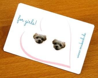Girl children jewelry ear studs earrings Maltese Silver 925