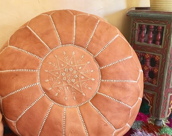 Moroccan Pouf Leather pouf Leather Ottoman  Handmade pouf  Tan pouf