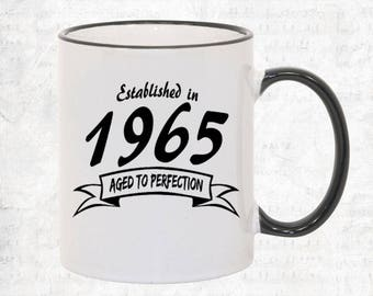 1965 Birthday Mug Year Born in 1965 Birthday Coffee Mug Birthday Gift Established in Year Personalized Coffee Cup