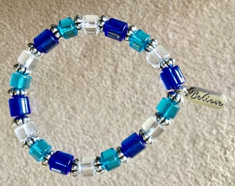 BLUE, AQUA and CLEAR Glass Beaded Bracelet With Silver Charm