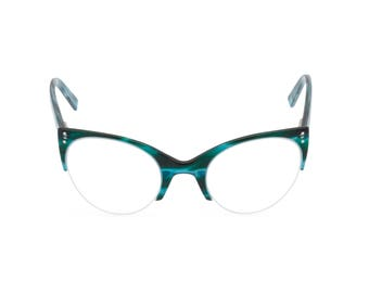 1950s style classic upswept cat eye 'ELLA' Ocean [Blue Green] Reading strength, clear lens for your optical prescription or sunglasses