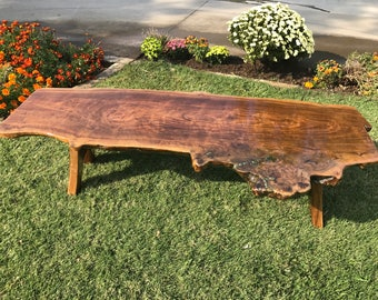 Live Edge Coffee Table, Black Walnut with inlays of Turquoise, Malachite, and Pyrite
