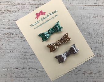 Glitter Hair bows - Out to Sea