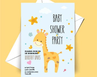 Giraffe, Baby Shower Party, Invitation, White Envelope Included.