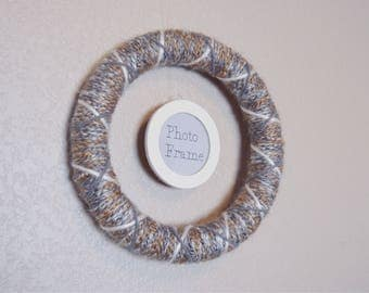 Small Photo Frame Farmhouse Wreath | Neutral Gray, Tan and White 10-inch Yarn Wrapped  Wreath w/ Ivory Photo Frame