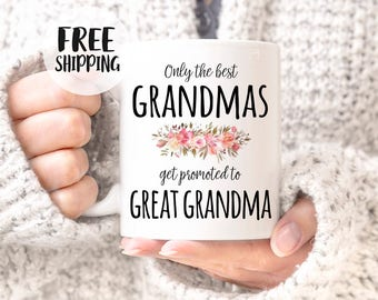 Best Grandmas get promoted to great grandma, Great Grandma mug, great grandma gift, Pregnancy Reveal, Baby announcement, Grandma mug