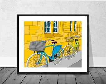 Oxford Art Print, Oxford Illustration, Bicycles Oxford, Bicycle Art Print, Oxford University, Bicycle Print, Home Décor, Graduation Gift