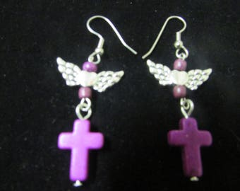 Purple cross and wings dangle earrings boho hippie