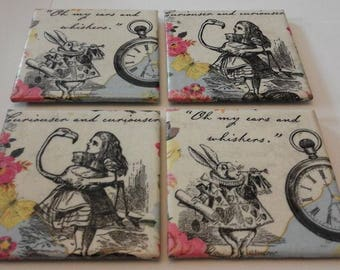 Alice in wonderland tile coasters