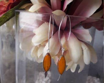Orange Marquise Shaped Bead Earrings