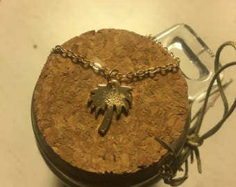 Gold Tropical Palm Tree Necklace