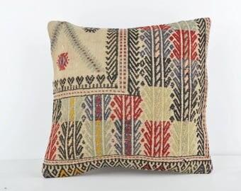 16''x16'' Turkish Kilim Pillow, Vintage Kilim Pillow, 40x40 cm Decorative Pillow Cover, Throw Pillow, Kilim Pillow Case