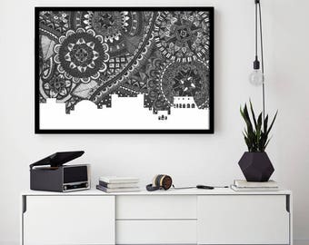 Rome Skyline Poster, Rome Art Print, Rome Zentangle, Rome illustration, Rome Home Decore, City Silhouette, Rome Italy, Rome Black and White