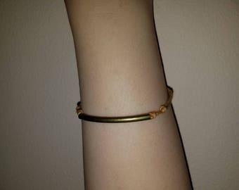 Thin Natural Rubbed Bronze Tube Bracelet