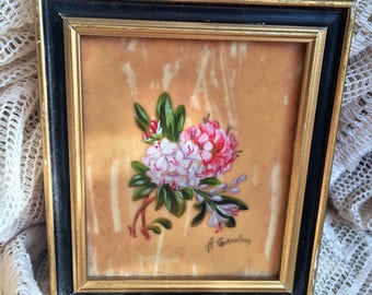 Miniature Oil Painting Hand Painted By The Hamilton Studio, Signed A Graham, 1950s