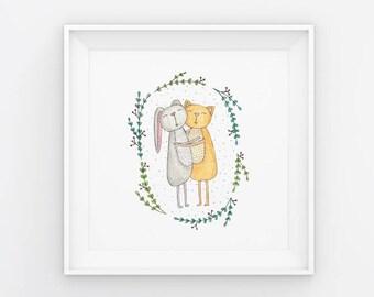 Floral Friends /  180mm x 180mm Watercolour Art Print / Nursery / Best Friends