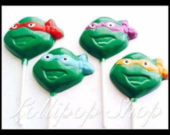 12 TMNT lollipops (Birthday, tmnt party favors, ninja turtle party favors)