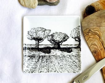 """Small square plate porcelain handpainted, original drawing titled """"Little bit of heaven"""""""