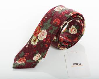 Burgundy Floral tie Men,Floral Groomsmen wedding tie, Skinny wedding tie, groomsmen tie, Neckties,Floral ties,