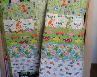 Blue and Green animal print baby blanket