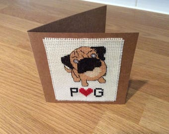 Pug Love Hand Cross Stitched Greetings Card
