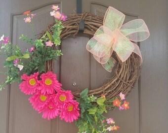 Summer Wreath, Front Door wreath, Spring Wreath, Door Wreath, Grapevine Wreath,Decorative Wreath, Wreath,Floral Wreath, Outdoor