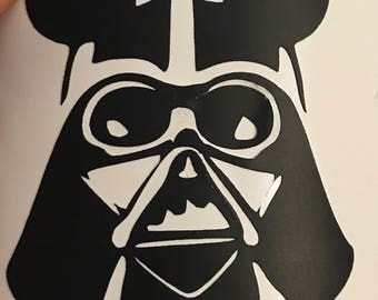 Darth Vader decal, Star Wars decal, custom decal, disney villain, disney car decal, black weatherproof vinyl, thermos decal, yeti decal