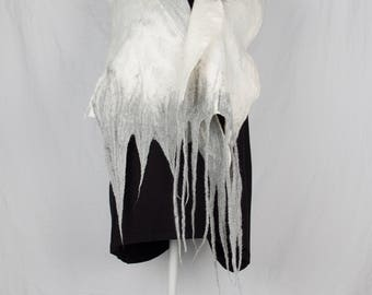 Nuno felted scarf in white and grey colours