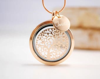 Medallion necklace with engraving ~ tree of life ~ Rosé gold