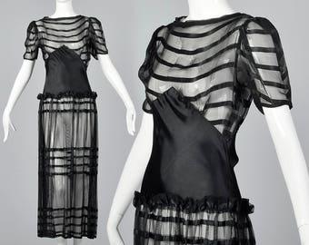 1930s Evening Gown Summer Black Sheer Mesh Stripe Elegant Formal Gown Old Hollywood Glamour Vintage 1930s 30s