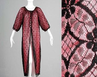 SALE Medium 1960s Robe 60s Black Lace Robe Lingerie Hot Pink Black Lace Illusion Overlay Peignoir Chiffon Vintage Lingerie 1960s Lingerie