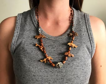 Authentic African Statement Necklace | Wood Bead | Lions, Giraffes, Rhinoceros | Hand Carved Nevklace | Safari