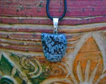Black and Gray Gemstone Necklace, Stone Necklace, Energy Necklace, Snow Flake Obsidian Stone Necklace, Joyful Stone Necklace, Chakra Jewelry