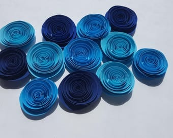 paper flowers, blue Ombre , 12, handmade, spiral roses, wedding decorations, party decorations, table decorations