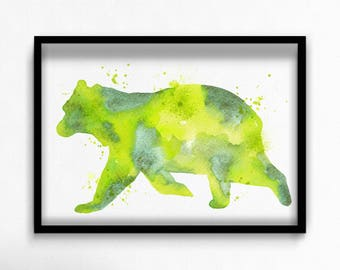 Watercolor Bear canvas art print poster