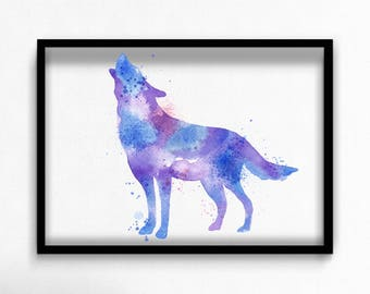 Watercolor wolf canvas art print poster