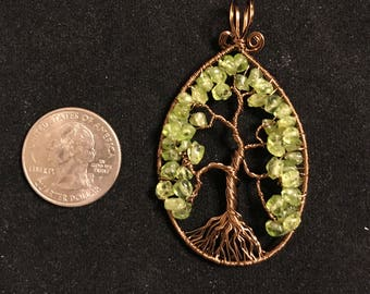 Antique Bronze Tree of Life with Peridot leaves