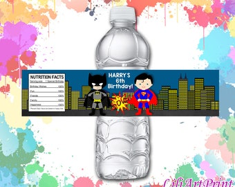 Superhero Water Bottle Labels, Superhero Labels, Digital File