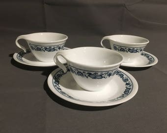Vintage Corelle Livingware by Corning Set of 3 Tea Cups & Saucer Old Town Blue Onion Blue Floral