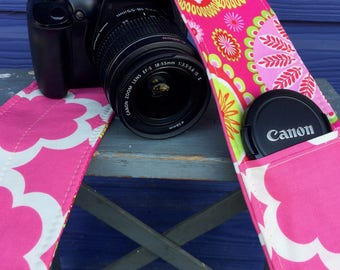 Camera Strap Cover with Lens Pocket Ready to Ship Canon Nikon DSLR Photographer Photography #110 Pink Paisley
