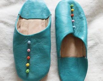 Moroccan slippers, round toe, turquoise, leather, slip-on, babouche, size 36/uk3 - 4