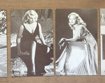4 Vintage Old Hollywood Penny Arcade Cards