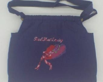 Handmade Purple Cotton Lined Purse/Shoulder Bag w/Pockets & Embroidered Red Hat.