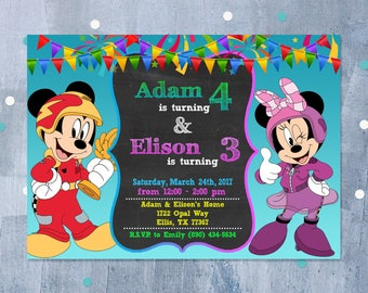 Mickey Mouse and Roadster Racers Invitation, Mickey Mouse and the Roadster Racers Birthday Sibling Twins Dual Invitation, Personalized JPEG