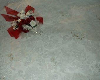 White Silver/Rhinestone Beaded Alencon Lace