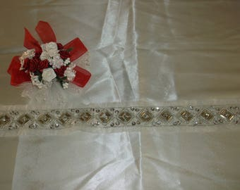 Gold/Silver/Rhinestone Beaded Border Lace