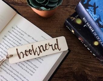 Wood bookmark - 'Booknerd'