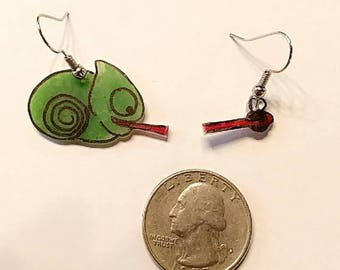 Cute Chameleon and Fly Earrings