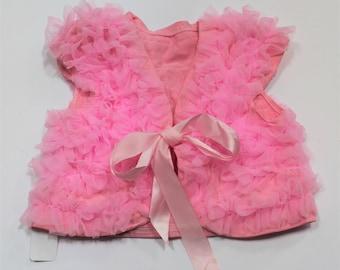 Girls Pink Ruffled Vest, Baby Shrug, Girls Jacket